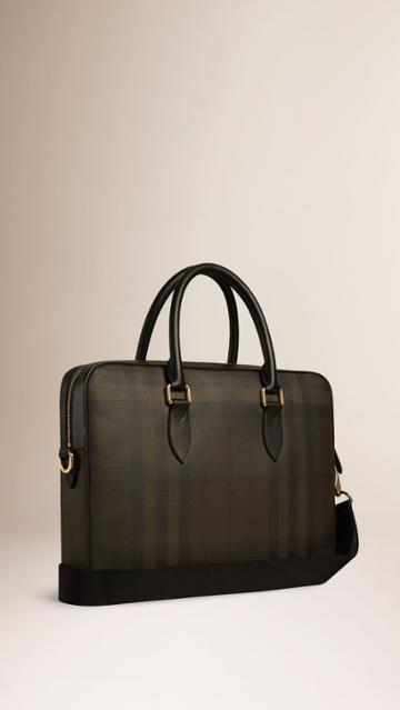 Burberry Burberry Leather Trim London Check Briefcase, Brown