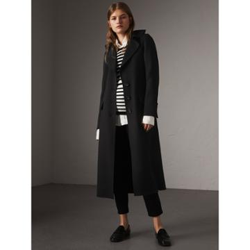Burberry Burberry Ruffled Collar Wool Cashmere Coat, Size: 04, Black