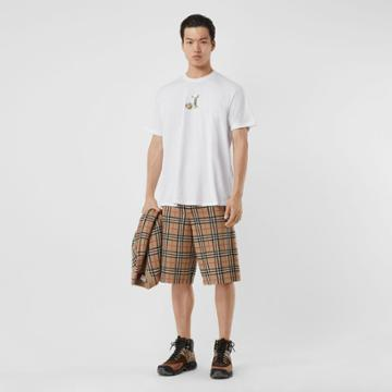 Burberry Burberry Deer Print Cotton Oversized T-shirt, Size: L, White