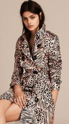 Burberry Patchwork Animal Print Silk Trench Coat