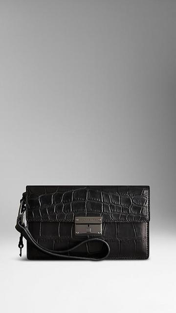 Burberry Alligator Leather Wrist-strap Wallet