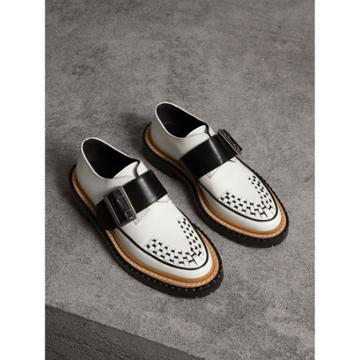 Burberry Burberry Buckle Detail Woven-toe Leather Shoes, Size: 38, White