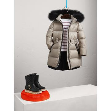 Burberry Burberry Down-filled Coat With Detachable Fox Fur-trimmed Hood, Size: 14y, Grey