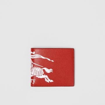 Burberry Burberry Contrast Logo Leather International Bifold Wallet, Red