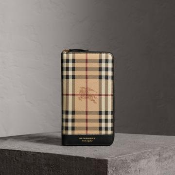 Burberry Burberry Haymarket Check And Leather Ziparound Wallet, Black