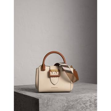 Burberry Burberry The Small Buckle Tote In Two-tone Leather, Grey