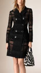 Burberry Prorsum Japanese Woven Mesh Panelled Trench Coat