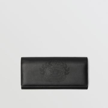 Burberry Burberry Embossed Crest Two-tone Leather Continental Wallet, Black