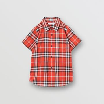 Burberry Burberry Childrens Short-sleeve Check Cotton Shirt, Size: 3y, Red