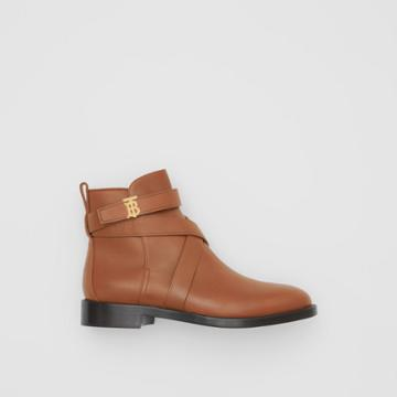 Burberry Burberry Monogram Motif Leather Ankle Boots, Size: 36.5, Brown