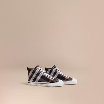 Burberry Burberry Check Linen Cotton High-top Trainers, Size: 36, Purple