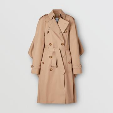 Burberry Burberry Contrast Cape Detail Cotton Twill Trench Coat, Size: 02, Beige