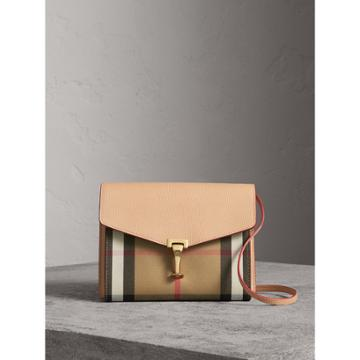 Burberry Burberry Small Leather And House Check Crossbody Bag, Orange