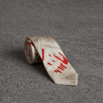 Burberry Burberry Slim Cut London Sketch Print Silk Tie, Red