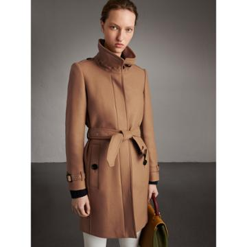 Burberry Burberry Technical Wool Cashmere Funnel Neck Coat, Size: 08, Brown