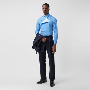 Burberry Burberry Slim Fit Bib Detail Cotton Poplin Dress Shirt, Size: 41, Blue
