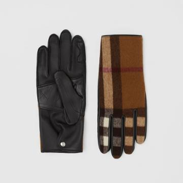 Burberry Burberry Cashmere-lined Check Wool And Lambskin Gloves, Size: 7.5, Brown