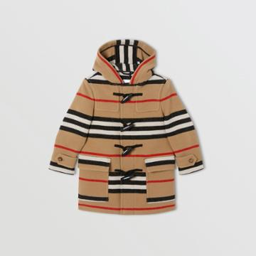 Burberry Burberry Childrens Double-faced Icon Stripe Wool Duffle Coat, Size: 12y