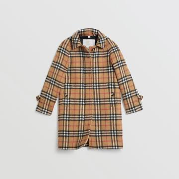 Burberry Burberry Childrens Vintage Check Alpaca Wool Blend Car Coat, Size: 8y, Yellow