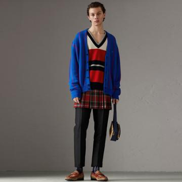 Burberry Burberry Reissued Striped Lambswool Sweater, Red