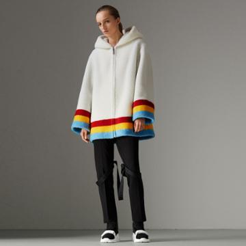 Burberry Burberry Striped Detail Faux Shearling Hooded Jacket, Size: 06, White