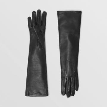 Burberry Burberry Long Silk-lined Lambskin Gloves, Size: 7, Black