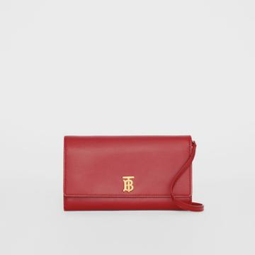 Burberry Burberry Monogram Motif Leather Wallet With Detachable Strap, Red