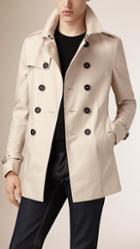 Burberry Prorsum Short Cotton Gabardine Trench Coat