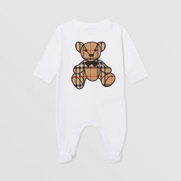 Burberry Burberry Childrens Thomas Bear Appliqu Cotton Jumpsuit, Size: 3m, White
