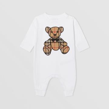 Burberry Burberry Childrens Thomas Bear Motif Cotton Jumpsuit, Size: 6m