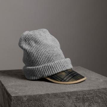 Burberry Burberry 1983 Check Wool Cashmere Peaked Beanie, Grey