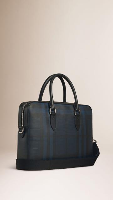 Burberry Burberry Leather Trim London Check Briefcase, Blue