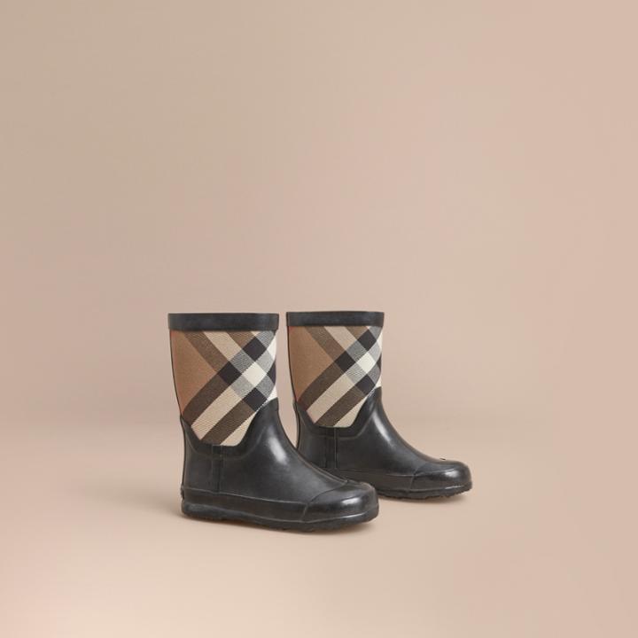 Burberry Burberry House Check Panel Rain Boots, Size: 33, Black