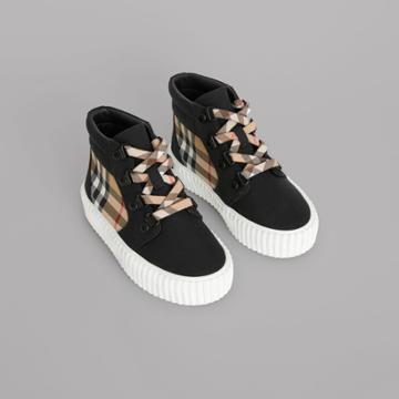 Burberry Burberry Childrens Vintage Check Detail High-top Sneakers, Size: 27, Black