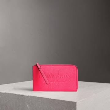 Burberry Burberry Embossed Neon Leather Travel Wallet, Pink