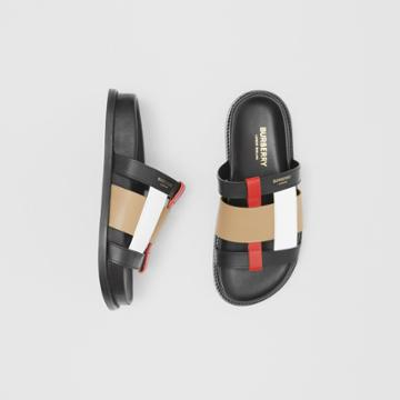 Burberry Burberry Colour Block Leather Slides, Size: 37, Black