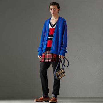 Burberry Burberry Reissued Striped Wool Cardigan, Size: M, Blue