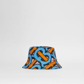 Burberry Burberry Monogram Print Cotton Canvas Bucket Hat, Blue