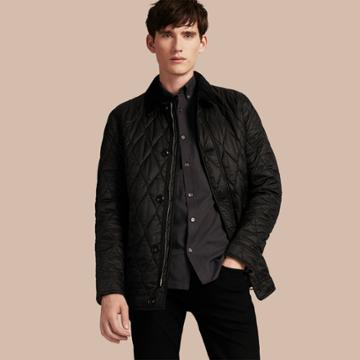 Burberry Burberry Check Detail Quilted Jacket With Corduroy Collar, Size: S, Black
