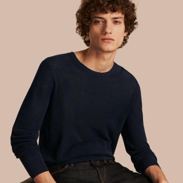 Burberry Burberry Crew Neck Textured Cotton Sweater, Size: Xl, Blue