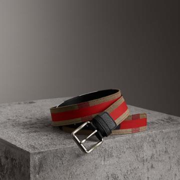 Burberry Burberry Striped Check Jute Cotton Belt, Size: 75
