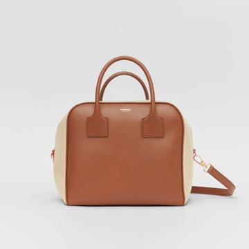 Burberry Burberry Medium Leather And Cotton Canvas Cube Bag, Brown