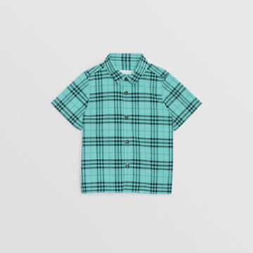 Burberry Burberry Childrens Short-sleeve Check Cotton Shirt, Size: 3y, Green
