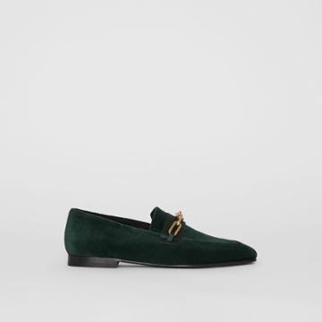 Burberry Burberry Link Detail Velvet Loafers, Size: 37, Green