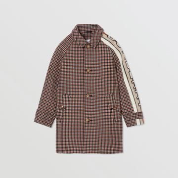 Burberry Burberry Childrens Logo Jacquard Check Wool Car Coat, Size: 14y, Brown