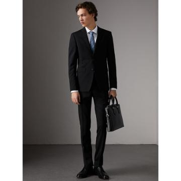 Burberry Burberry Slim Fit Wool Part-canvas Suit, Size: 56r, Black
