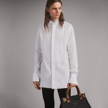 Burberry Burberry Macram Trim Cotton Evening Shirt, Size: 15.5, White