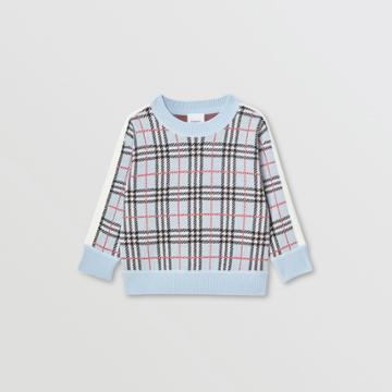 Burberry Burberry Childrens Check Merino Wool Jacquard Sweater, Size: 14y, Blue