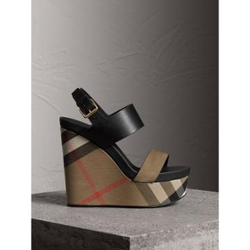 Burberry Burberry House Check Leather And Calf Suede Platform Wedges, Size: 38.5, Grey