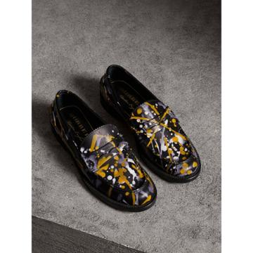 Burberry Burberry Splash Print Leather Penny Loafers, Size: 35, Black